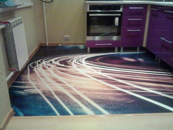 Наливной пол на кухне 3