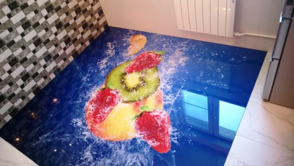 Наливной пол на кухне 2