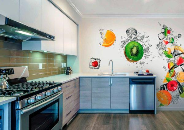У 3D обоев необычная текстура, которая поможет скрыть неровности и визуально увеличить пространство, поэтому этот вид отделочных материалов, часто применяют для отделки стен кухни
