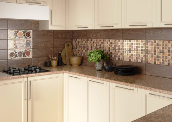 Использование кафеля в отделке стен на кухне