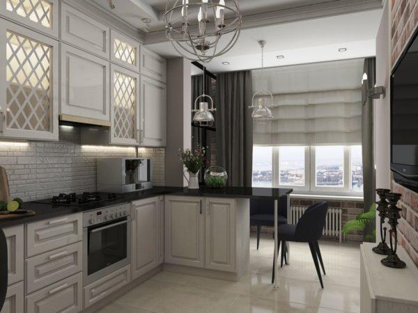 Интересный вариант объединения кухни с гостиной