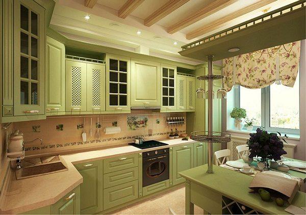 кухня в стиле кантри 9 кв м