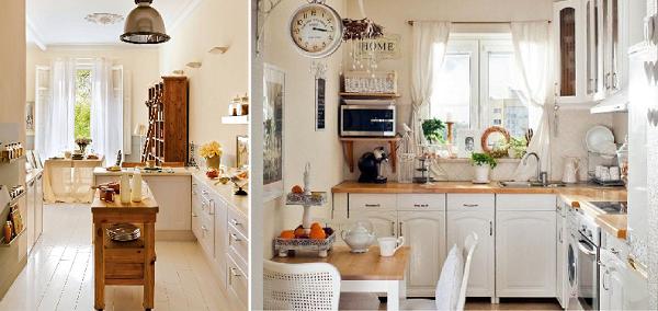 Белые и короткие шторы в интерьере кухни в стиле прованс