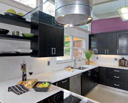 Черно-белые кухни – дизайн интерьера фото