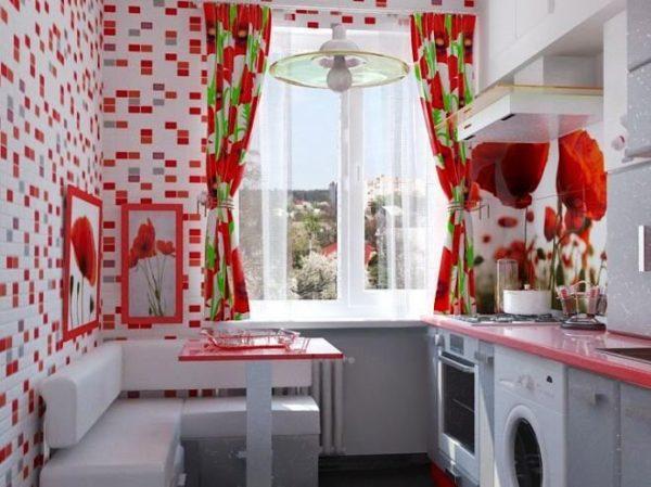Цвет гардин или занавесок должен гармонично выписываться в интерьер кухни и не противоречить другим элементам дизайна