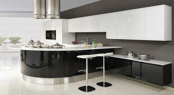 черно белая кухня черный низ белый верх
