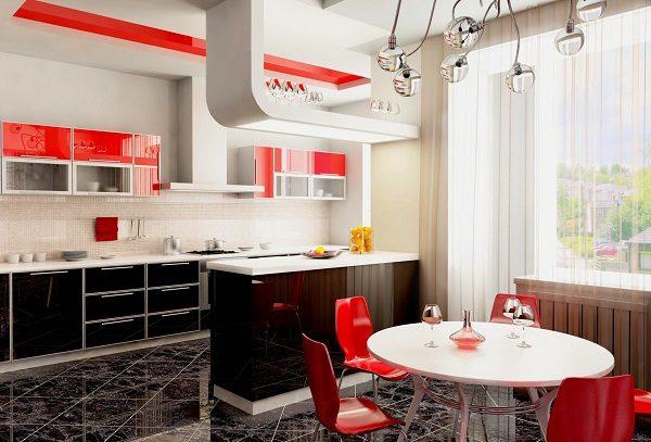 кухня чёрно-белая красным аксессуаром