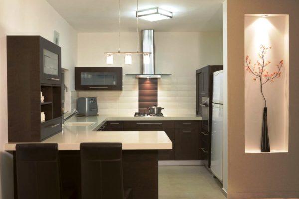 Дизайн кухни с барной стойкой П-образной планировки 2