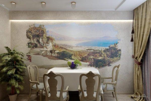 настенные фрески в интерьере кухни
