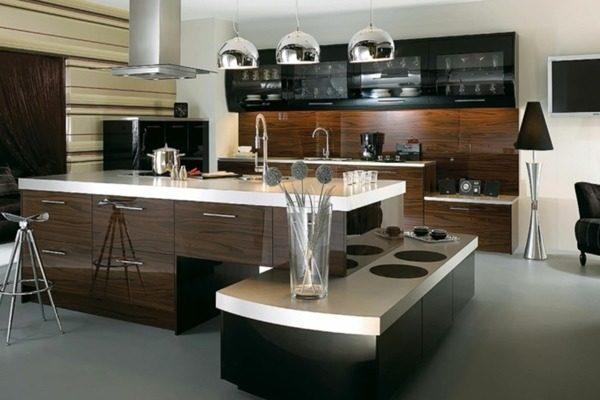 современная кухня модульной мебели в стиле хай-тек