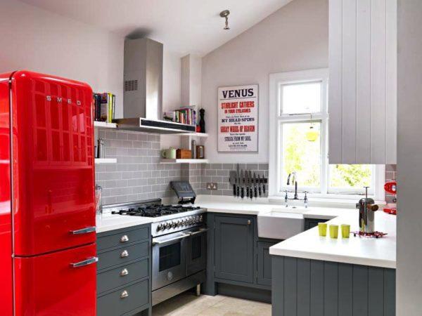 П-образная планировка 9 метровой кухни