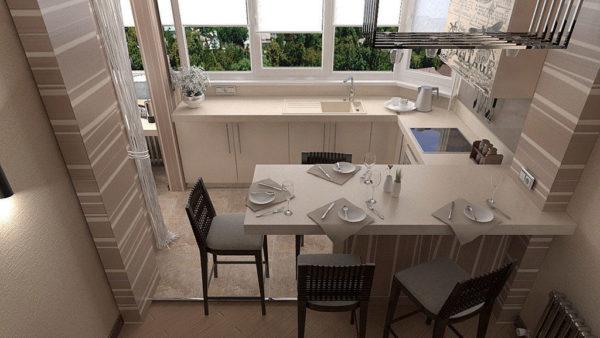 Правильнее всего оборудовать обеденную зону и, лакомясь вкусными блюдами, одновременно наслаждаться видом за окном
