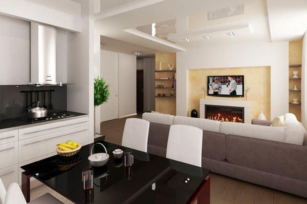 Цветовая гамма в интерьере гостиной совмещённой с кухней
