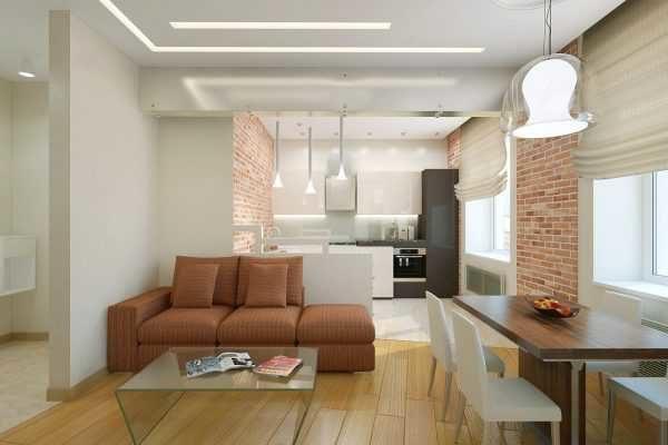 Цветовая гамма в интерьере гостиной совмещённой с кухней фото