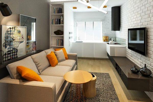 интерьеры маленьких кухонь совмещённых с гостиной