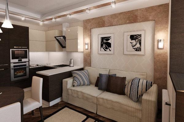 интерьеры маленьких кухонь совмещённых с гостиной фото