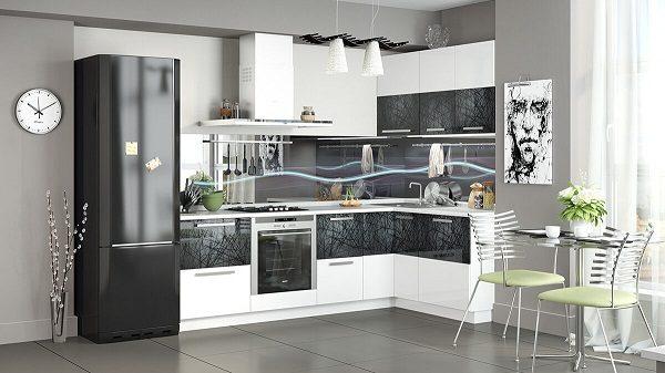 черно-белая кухня в интерьере фото