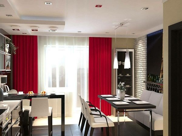 Черно-белая кухня с красным текстилем