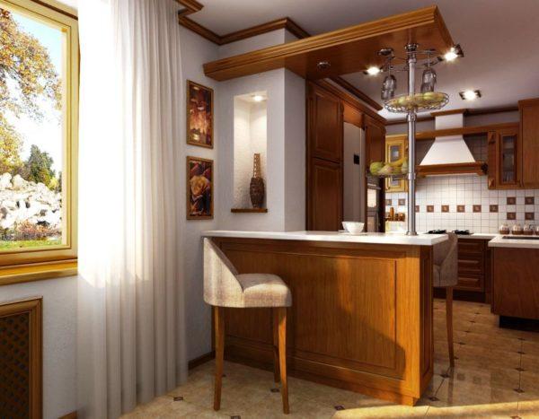 Высокие разновидности отлично смотрятся в кухнях с высокими потолками