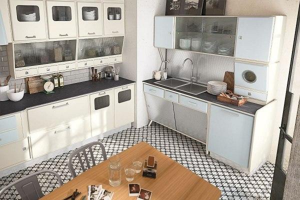 Современная мебель для кухни выполненная в ретро стиле