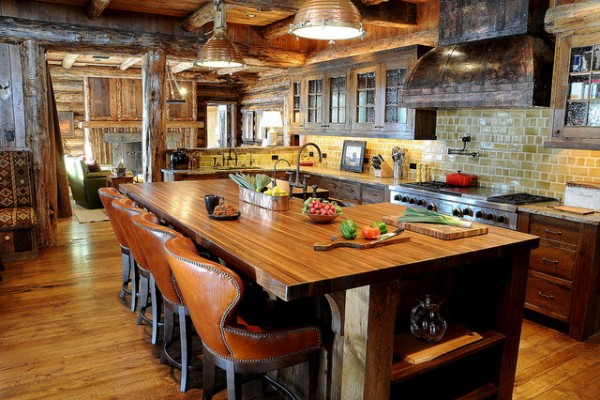Мебель для кухни в стиле кантри с барной стойкой