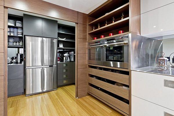 Система хранения в при стиле минимализм на кухне