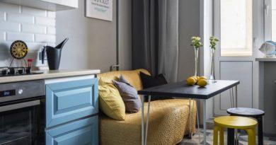 Дизайн кухни с диваном со съемными чехлами может легко меняться по вашему желанию