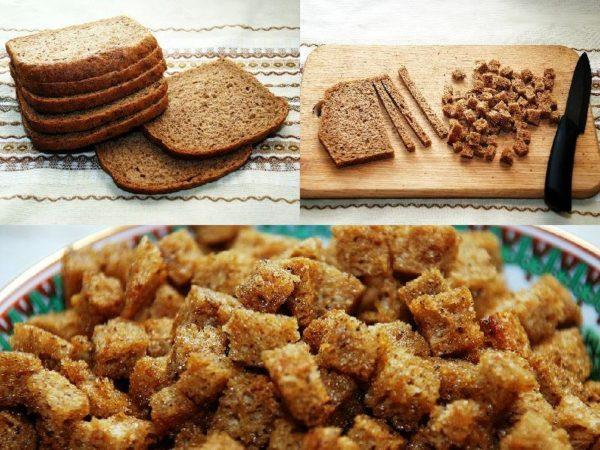 Остатки черного хлеба, да еще подсоленного — отличные сухари для супа и бульона