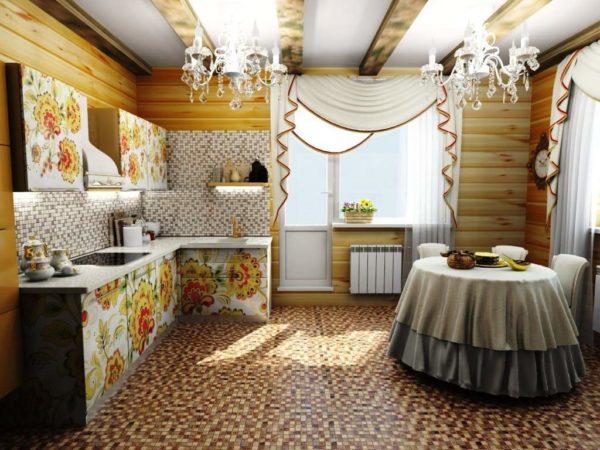 Отделка кухонного гарнитура жостовской росписью