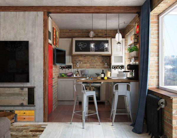В лофте кухня часто совмещается с гостиной, что является удачным решением для малогабаритных квартир