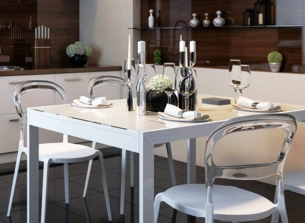Кухонный стол на кухне в стиле минимализм
