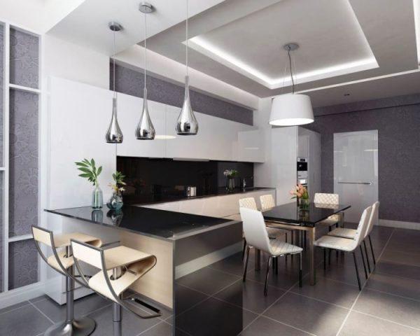 В кухне-студии уместен разноуровневый потолок
