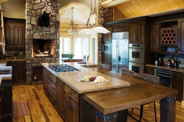 Камин на альпийской кухне