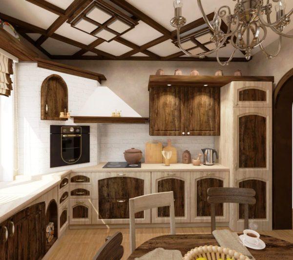 Дизайн интерьера кухни шале в городской квартире