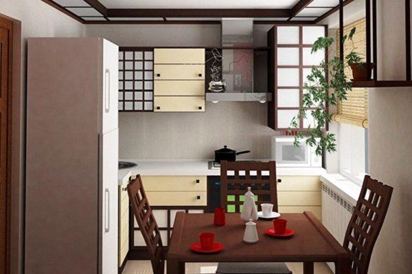 Японский стиль - отличное решение в качестве дизайна кухни в хрущевке
