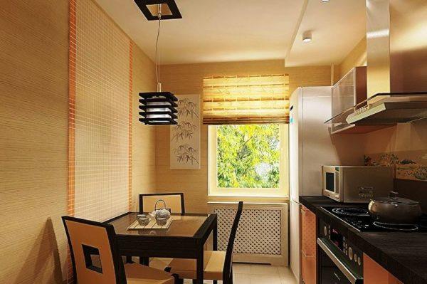 Для кухни в японском стиле днем необходимо много естественного света