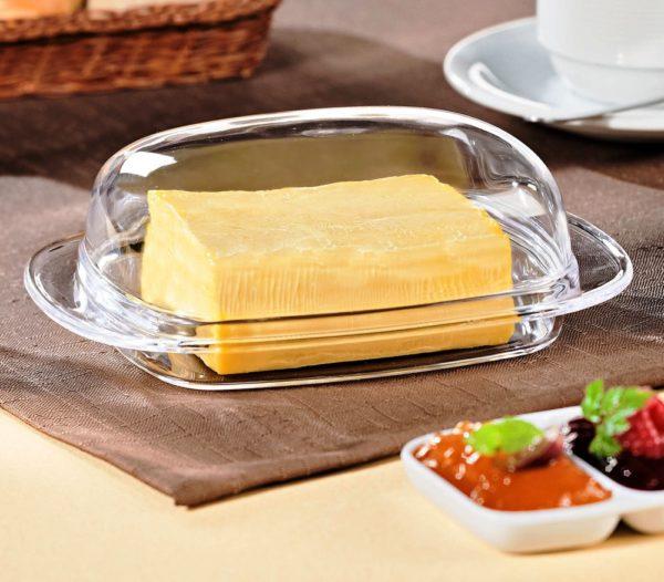 Сливочное масло рекомендуется хранить в стеклянной или керамической посуде