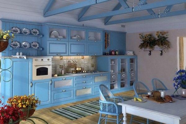 Голубой цвет в интерьере кухни фото