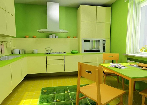 зеленый цвет в интерьере кухни фото