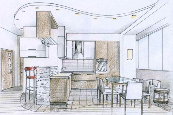 дизайн проект кухонного помещения