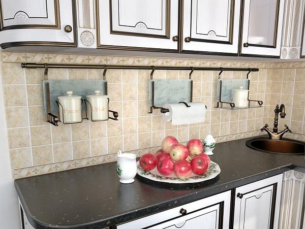 Бронзовый рейлинг в интерьере кухни фото