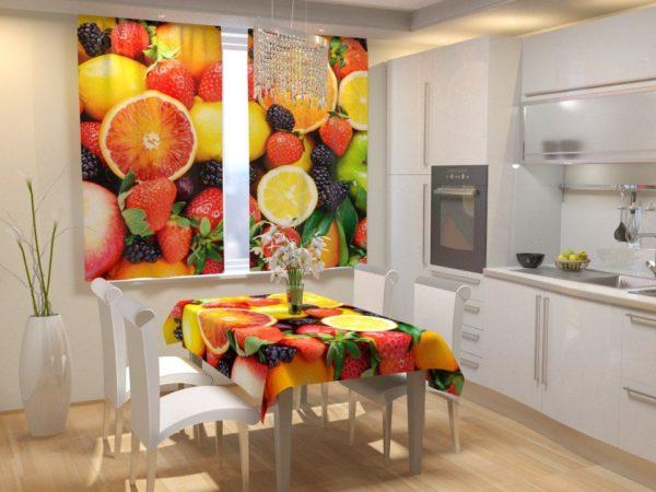 фрукты в декоре интерьера кухни