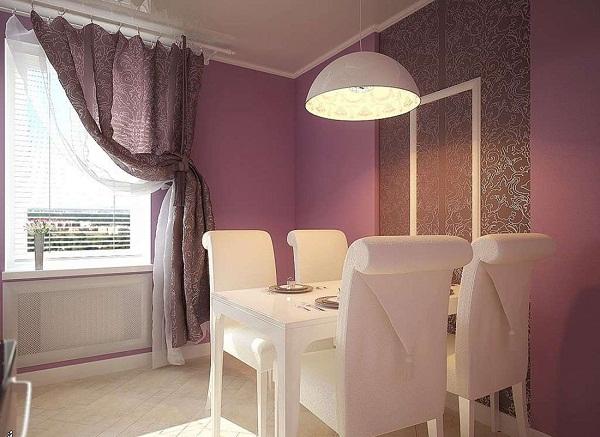 шторы под цвет обоев в интерьере кухни фото