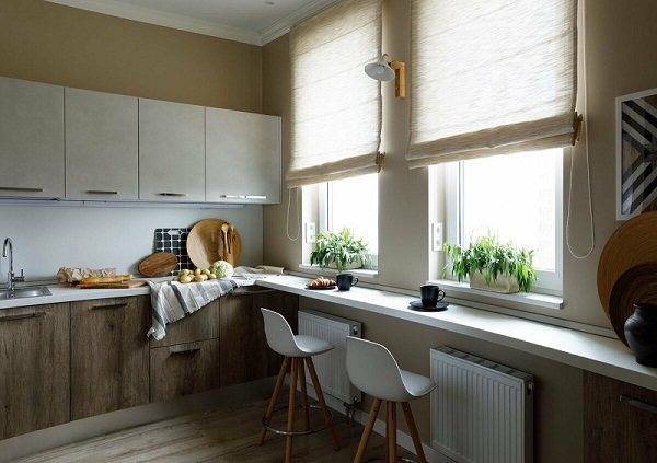 подоконник на кухне фото