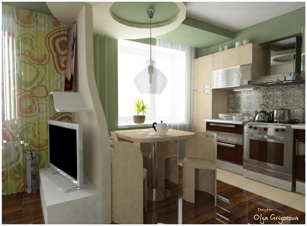 зонирование маленькой кухни в хрущевке фото