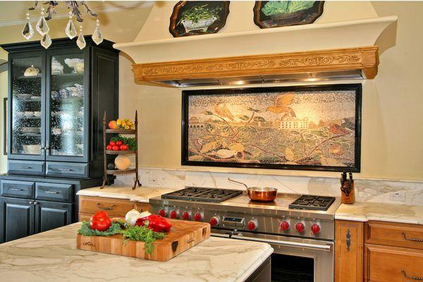 вышитая картина в интерьере кухни