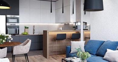 Как правильно объединить зоны гостиной и кухни