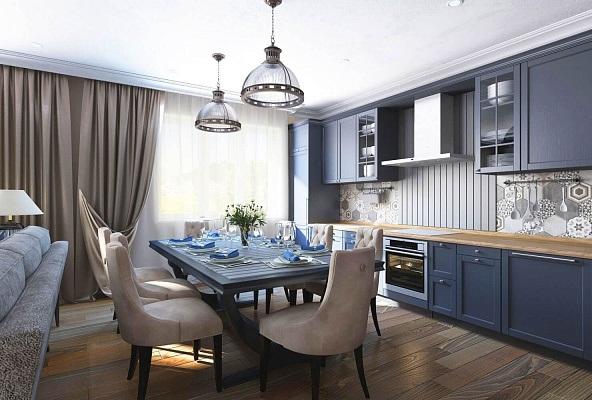 Темно-синяя кухня совмещенная с гостиной