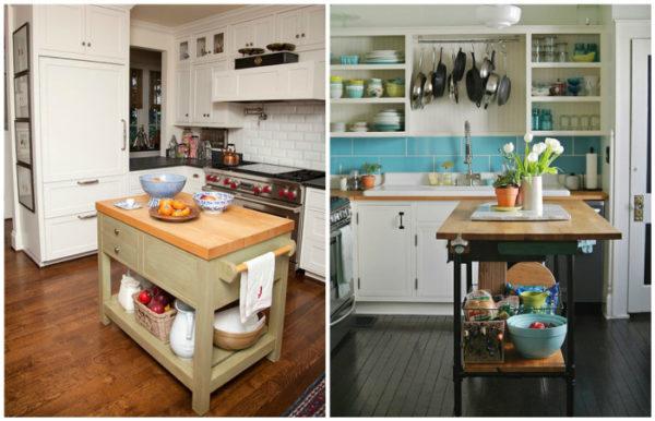 Компактный кухонный остров вместо стола
