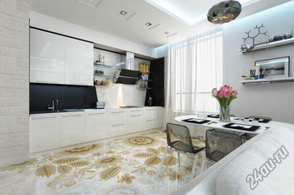 Наливной пол на кухне фото в интерьере